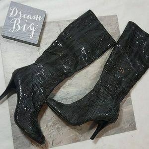 Diba   Alligator Boots Dark Olive Green